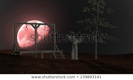 Angel of Death - Spooky Night background with Gallows, Crows and Red Moon Stock photo © ankarb
