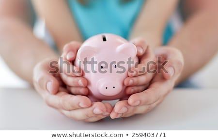 Kid hand spaarpot witte geld man Stockfoto © fantazista