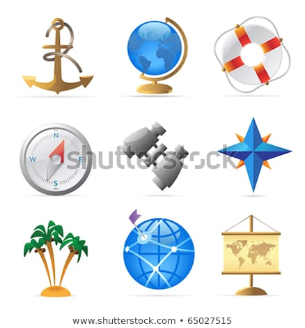 Compass icon blue and brown on a white Stock photo © Anna_leni