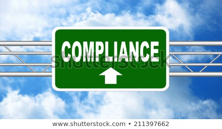 Stock photo: Compliance on Green Highway Signpost.