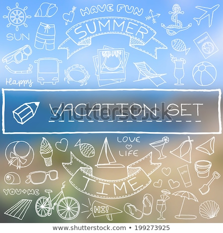 nautical icons background with blurred banner stock photo © vectorikart