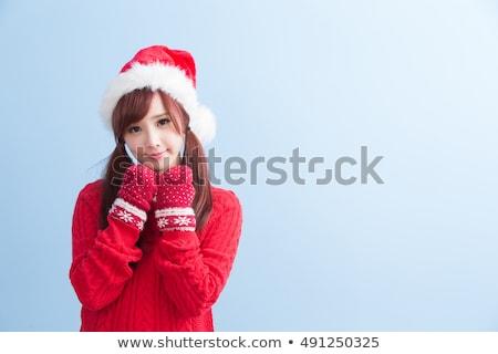 ストックフォト: 雪 · 少女 · サンタクロース · クリスマス · 孤立した · 白