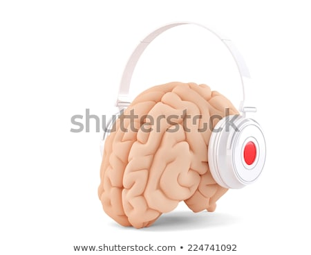 brain with headphones isolated cotains clipping path stock photo © kirill_m