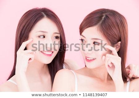 donna · sorridente · faccia · punta · denti · dental - foto d'archivio © dolgachov
