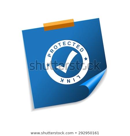 Stock fotó: Védett · láncszem · kék · cetlik · vektor · ikon