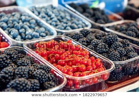 Fresh , raspberries, strawberries, cherries, blueberries in the box on the market Stock photo © mcherevan