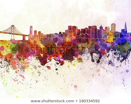 Сток-фото: San Francisco Skyline Paint Splatter Illustration