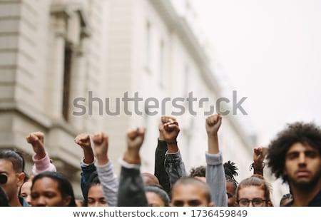 Protesto örnek iletişim işaretleri kadın gülen Stok fotoğraf © adrenalina