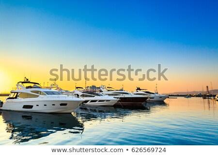 luxe · zeil · boten · zonsondergang · mooie · oranje - stockfoto © epstock