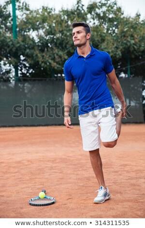 mannelijke · tennisspeler · permanente · racket · portret · knap - stockfoto © deandrobot