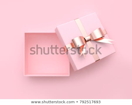 Pembe hediye kutusu yay ahşap parti Stok fotoğraf © teerawit