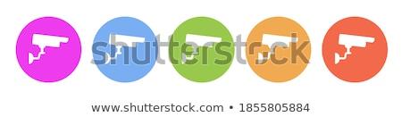 Cctv felirat rózsaszín vektor gomb ikon Stock fotó © rizwanali3d