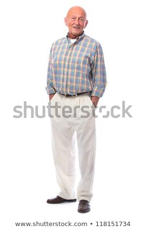 senior · casual · homem · em · pé · mãos - foto stock © feedough