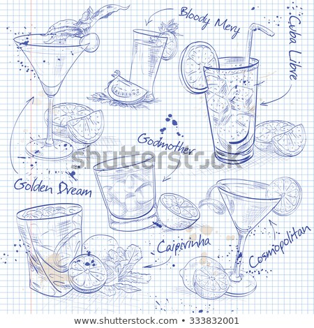 Contemporary Classics Cocktail Set on a notebook page Stock photo © netkov1