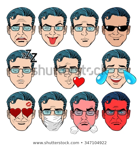 Retro Emoji lover man face Stock photo © studiostoks