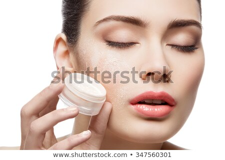 Beautiful Girl Holding Jar With Loose Powder Stok fotoğraf © Svetography