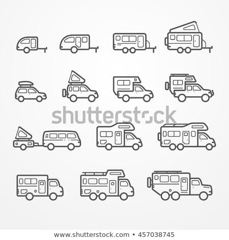 carro · caravana · linha · ícone · teia - foto stock © rastudio