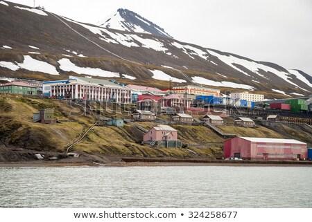 Skyline of Barentsburg, Russian settlement in Svalbard, Norway Stock photo © dinozzaver
