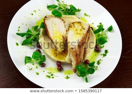csirkemell · krumpli · szeletek · filé · tyúk · bambusz - stock fotó © Digifoodstock