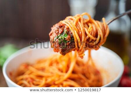 Stock fotó: Hús · spagetti · fűszeres · mártás · paradicsom · bors