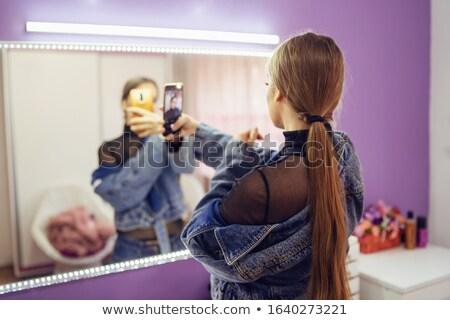 Lány pózol szoba jóképű csukott szemmel fény Stock fotó © bezikus