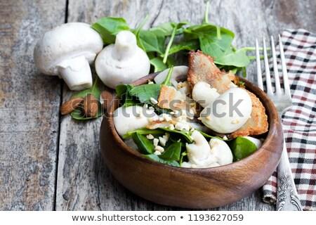 Spenót saláta marinált disznóhús kotlett ágy Stock fotó © Digifoodstock