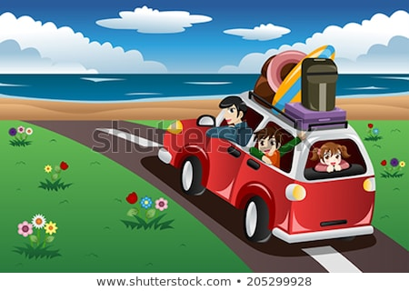 A boy and a girl going to the beach Stock photo © bluering