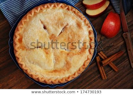 Frissen sült házi készítésű almás pite asztal ruha Stock fotó © tab62