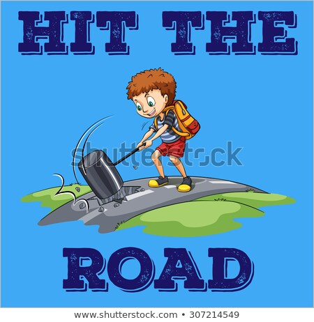 A poster of a boy hitting the road Stock photo © bluering