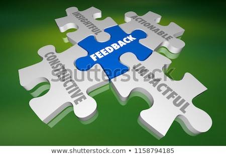 Puzzle szó visszajelzés kirakó darabok építkezés kommunikáció Stock fotó © fuzzbones0