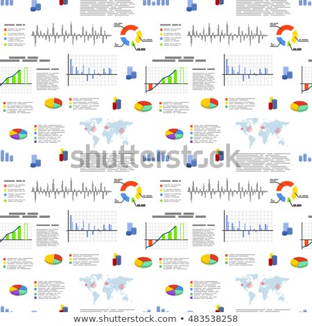 Different flat graphics and diagrams, infographic elements on white, business seamless pattern stock photo © Evgeny89