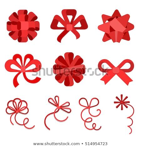 Stylish red Christmas bow and ribbon Stock photo © ozgur