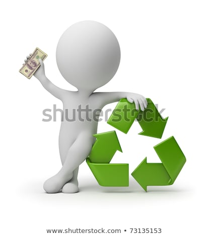 Stock photo: 3d small people   payment for recycling