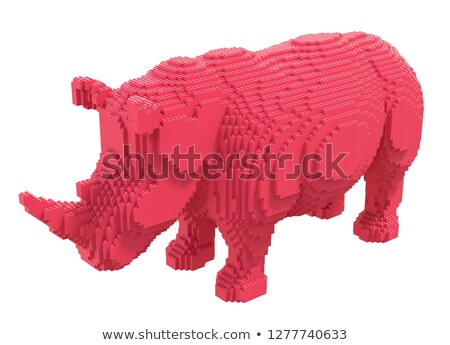 Statue of red rhino Stock photo © bezikus