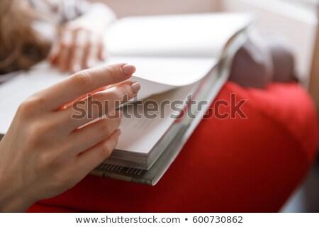 Image femme sac président lecture livre Photo stock © deandrobot
