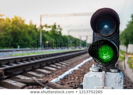 Demiryolu trafik ışığı tren örnek arka plan sanat Stok fotoğraf © bluering