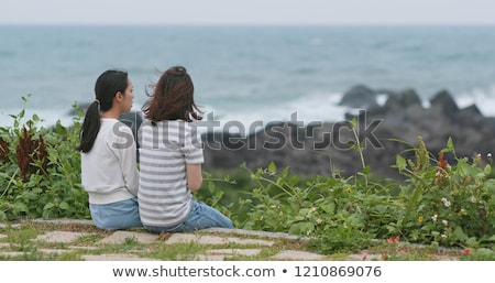 back view of two women on the beach stock photo © deandrobot