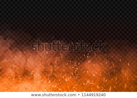 Abstrato fogo laranja fumar moderno preto Foto stock © olgaaltunina