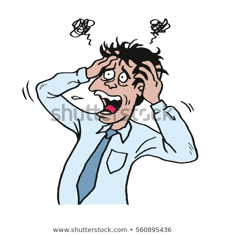 stressed man at work grabbed his head businessman vector illustration stock photo © doddis