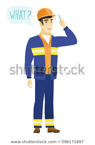 Stock photo: Young asian builder with speech bubble.