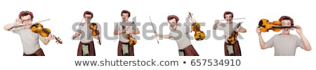 funny scotsman with violin on white stock photo © elnur