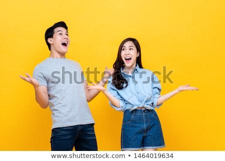 Dois feminino boca gritar wow desenho animado Foto stock © rogistok