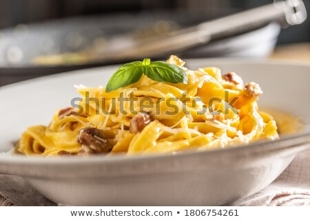 tagliatelle with bacon and cream Stock photo © M-studio