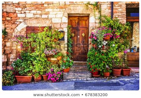 encantador · velho · ruas · decorado · flores · tradicional - foto stock © Freesurf