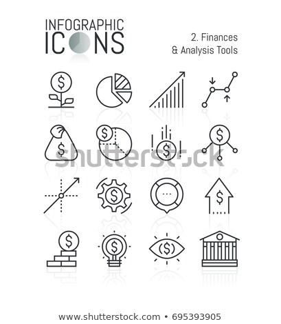 банковской Финансы тонкий линия баннер дизайн шаблона Сток-фото © Genestro