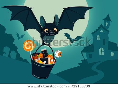 Cartoon Bat and Full Moon Halloween Scene Stock photo © Krisdog