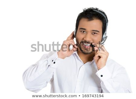 Asian homme service clients représentant tête Photo stock © Qingwa