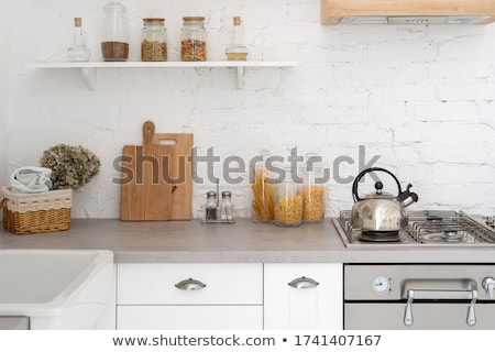 glass kettle on gas cooker Stock photo © martin33