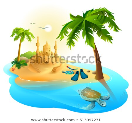 Tropical island paradise beach. Palm tree, sand castle, fins, sea turtle Stock photo © orensila