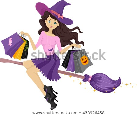 Teen Girl Witch Shopping Bags Stock photo © lenm